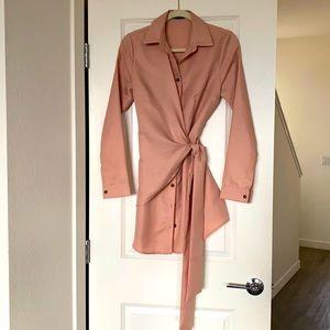 Tie Front Wrap Shirt Dress